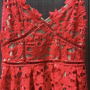 L'ATISTE Red Lace Dress